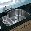"Vigo 31.75"" x 20.88"" Double Bowl D Shaped Undermount Kitchen Sink"