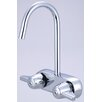 "<strong>Central Brass</strong> Leg Double Handle Deck Mount Tub Only Faucet Trim 3.38"" Centers and 6.88"" Gooseneck Spout Trim"