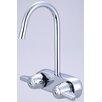 """Central Brass Leg Double Handle Deck Mount Tub Only Faucet Trim 3.38"""" Centers and 6.88"""" Gooseneck Spout Trim"""