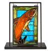 "Meyda Tiffany Tiffany Trout Lighted Mini Tabletop Window 10.5"" H Table Lamp"