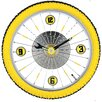 Bike Wall Clock with Rubber Tire in Yellow
