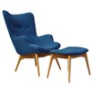 International Design USA Huggy Mid Century Chair & Ottoman Set