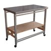 Oasis Concepts Folding Kitchen Island with Stainless Steel Top
