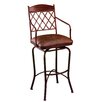 "Napa Ridge Rust 26"" Swivel Counter Stool w/ Arms in Coffee Fabric"