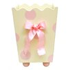 New Arrivals Pink Polka Dot Wooden Wastebasket with Bow