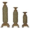 <strong>Crestview Collection</strong> Traditions 3 Piece Resin Stone Carlyle Candlestick Set