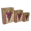 <strong>3 Piece Vinyl Book Box with Grape and Wine Theme Set</strong> by Cheungs