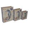 Cheungs 3 Piece Vinyl Book Box with Coastal Seahorse Theme Set
