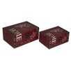 Cheungs 2 Piece Flat Top Keepsake Box with Home Design Set