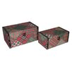 <strong>Cheungs</strong> 2 Piece Flat Top Keepsake Box with Patchwork Design Set