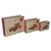 Cheungs 3 Piece Lined Keepsake Book Box with Carte Postal Design and Olde Time Car Set