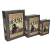 Cheungs 3 Piece Book Box with Vintage Train Theme Set