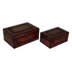 Cheungs 2 Piece Flat Top Wooden Keepsake Box Set