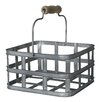 Cheungs Square Metal Slatted Caddy with Wood Grip Metal Handles