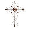 Tall Metal Cross Wall Art in Rustic Copper
