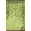 Ayers Green Washed Damask Fringe Rug