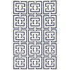 nuLOOM Flatweave Navy Locking Squares Area Rug