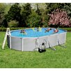Blue Wave Products Samoan 12-ft x 24-ft Oval 52-in Deep 8-in Top Rail Metal Wall Swimming Pool Package