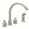 <strong>Moen</strong> Monticello Two Handle Widespread Bar Kitchen Faucet with Protege Side Spray