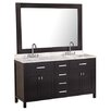 "Design Element London 61"" Double Bathroom Vanity Set with Mirror"