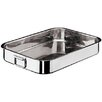 "Paderno World Cuisine 10.25"" Heavy Rectangular Roasting Pan with Folding Handle"