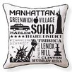 Naked Decor NYC Neighborhoods Throw Pillow