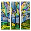 All My Walls 'Stain Glass Trees' by Peggy Davis 3 Piece Graphic Art Plaque Set