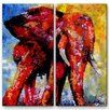 All My Walls 'Elephant Sunrise' by Claude Marshall 2 Piece Original Painting on Metal Plaque Set