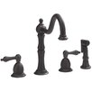 Belle Foret Double Handle Widespread Kitchen Faucet with Lever Handles and Side Spray