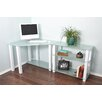 RTA Home And Office White Lines Corner Computer Desk with Extension and 3 Shelves