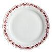 """BonJour Yuletide Garland 10.5"""" Printed Porcelain Stoneware Fluted Dinner Plate (Set of 4)"""