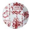 """BonJour Yuletide Garland 9.5"""" Printed Porcelain Stoneware Fluted Salad Plate (Set of 4)"""