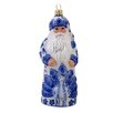 Kurt Adler David Strand Glass Delft Peacock Santa Ornament