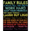 Family Rules II Framed Textual Art in Rainbow