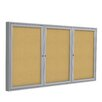 Ghent 3 Door Aluminum Frame Enclosed Natural Cork Bulletin Board