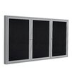 Ghent 3 Door Enclosed Recycled Rubber Bulletin Board