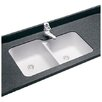 "Swanstone Classics 33"" x 21.25"" Undermount Double Bowl Kitchen Sink"