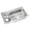 "Elkay Dayton 33"" x 22"" Elite 4 Hole Double Bowl Kitchen Sink"