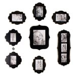Vintage 8 Piece Photo Frame Set in Gold & Black