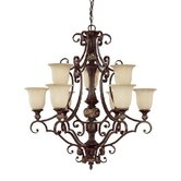 Manchester 9 Light Chandelier with Scavo Glass