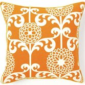 Floret Cotton Square Pillow in Orange