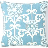Floret Cotton Square Pillow in Sky