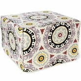 Suzani Henna Cotton Cube Ottoman