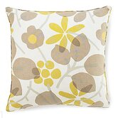Bethe Flower Linen Square Pillow in Light Brown
