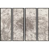 "Paris Maps by Unknown Mark Abrams Art (Set of 4) - 62"" x 22"""