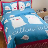 Pillow Talk Duvet Set in Blue and White