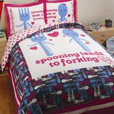 Spooning Duvet Set in White and Navy