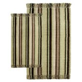 Silked Ribbed Piece Accent Bay Leaf Multi Rug Set