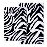 Safari 2 Piece Zebra Black / White Contemporary Bath Rug Set