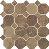 "Aspen Lodge 12"" x 12"" Octagon Dot Mosaic Field Tile in Cotto Mist"